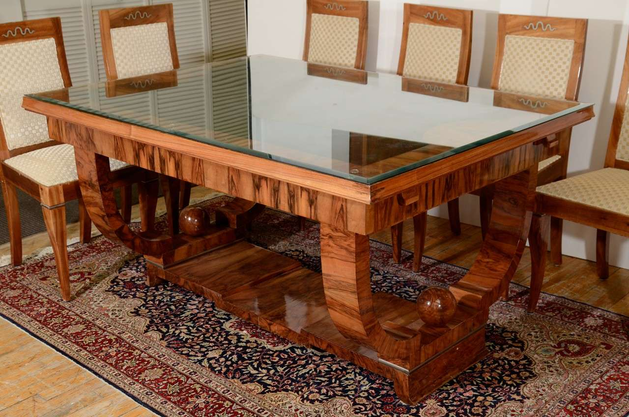 french art deco walnut dining set with eight chairs 3 art deco dining set