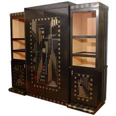 Vintage Custom Art Deco Style Entertainment Center