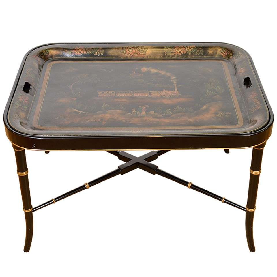 Mid Century Chinoiserie Tray Table W/ Faux Bamboo Base 1