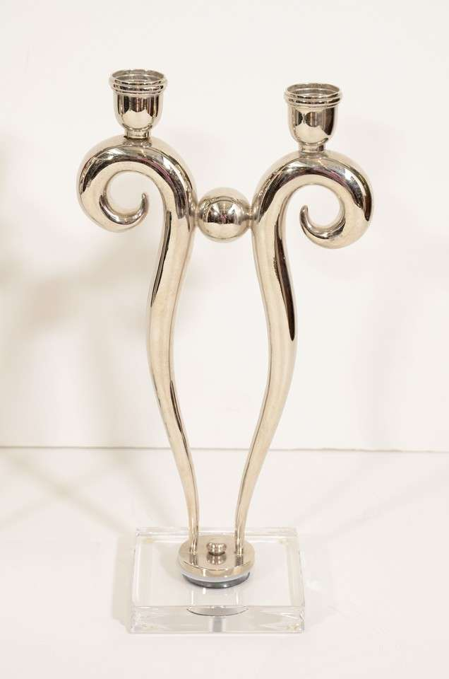 Pair of Art Deco Style Chrome Candlesticks on Lucite Bases 2