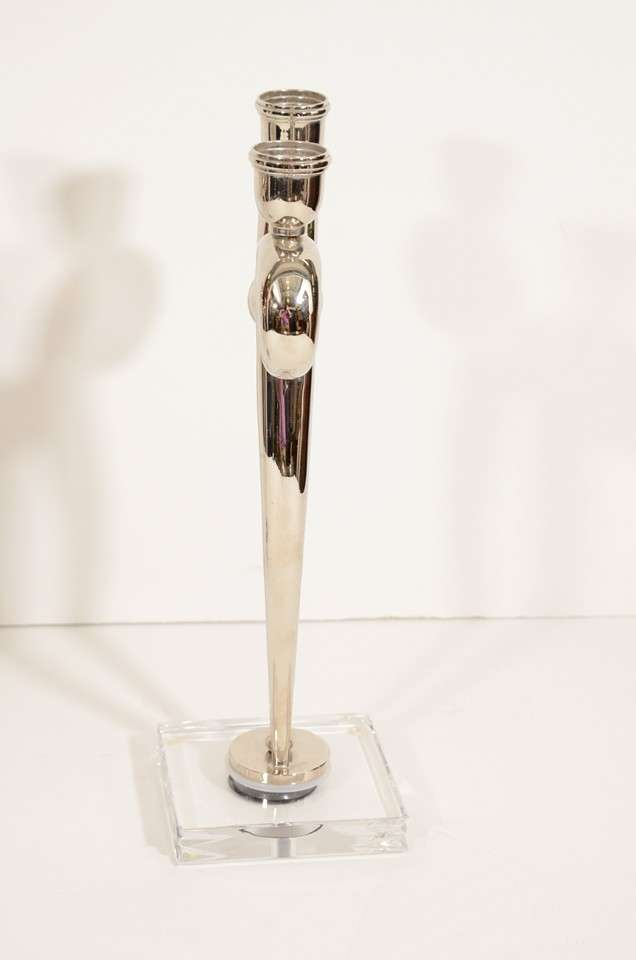 Pair of Art Deco Style Chrome Candlesticks on Lucite Bases 7