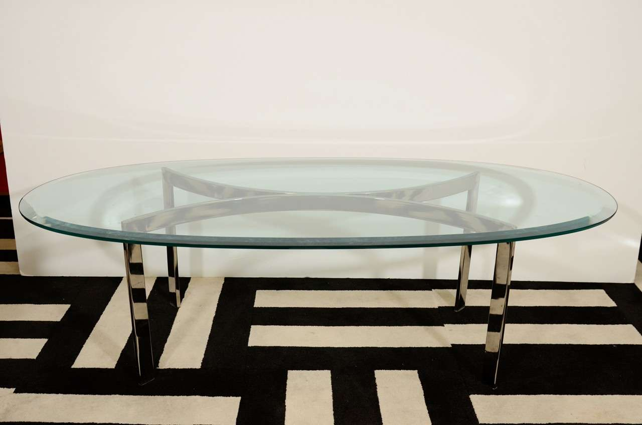 Mid century oval chrome and glass coffee table at 1stdibs for Oval glass coffee table