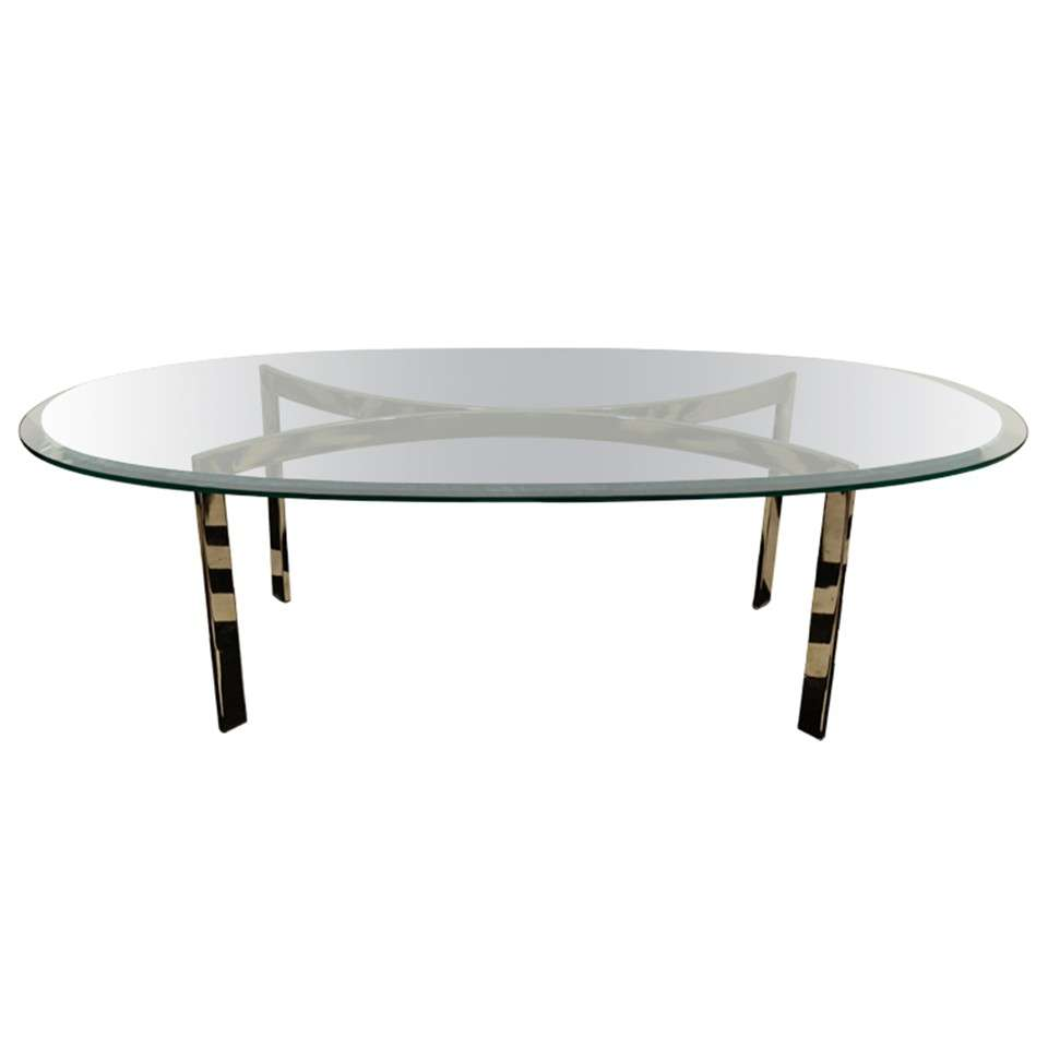 Mid Century Oval Chrome And Glass Coffee Table