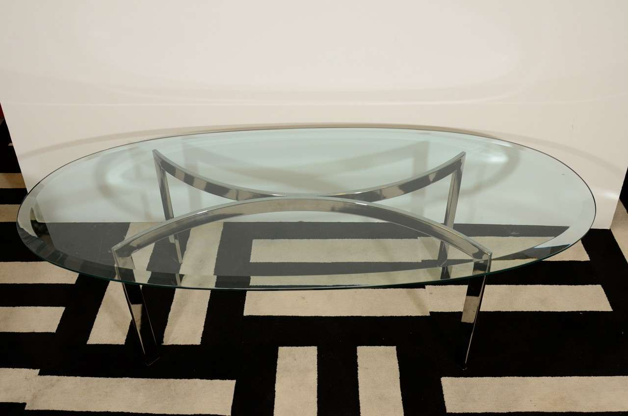 mid century oval chrome and glass coffee table at 1stdibs
