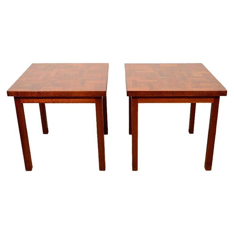 Pair of 1960s Handcrafted Wood Side Tables with Tile Patterned Top For Sale