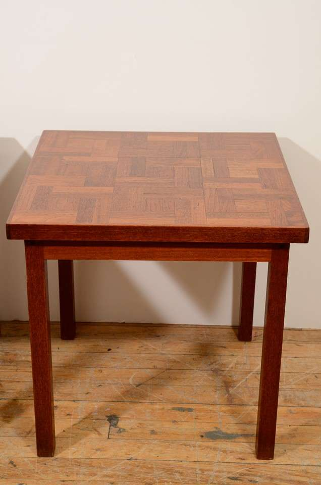 Mid-Century Modern Pair of 1960s Handcrafted Wood Side Tables with Tile Patterned Top For Sale
