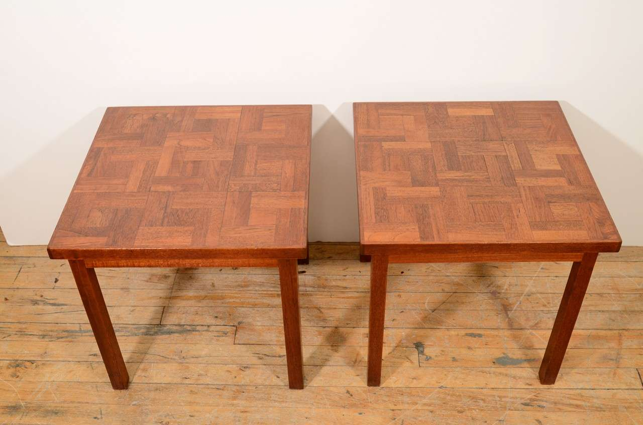 American Pair of 1960s Handcrafted Wood Side Tables with Tile Patterned Top For Sale