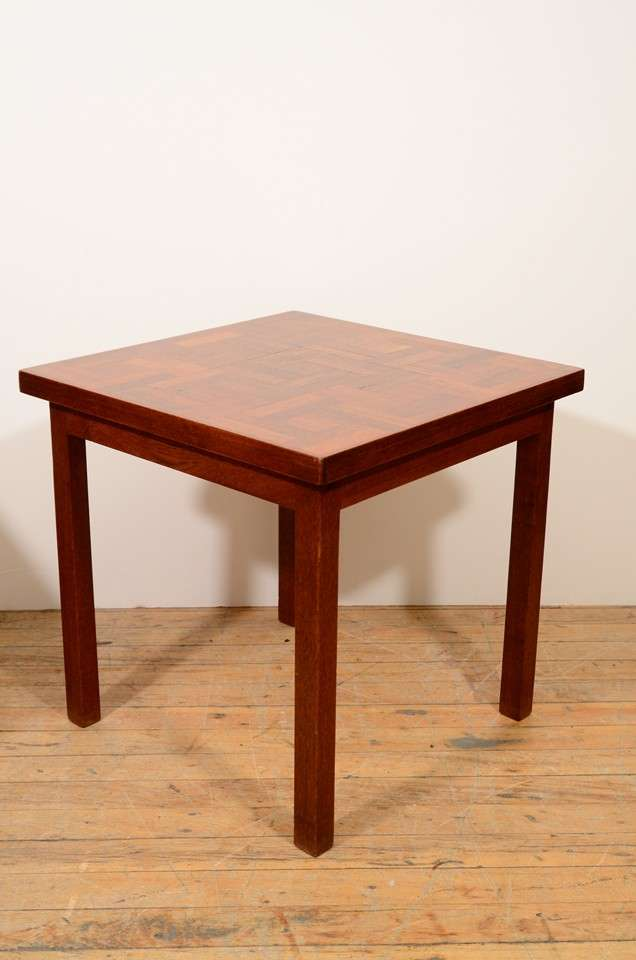 Mid-20th Century Pair of 1960s Handcrafted Wood Side Tables with Tile Patterned Top For Sale