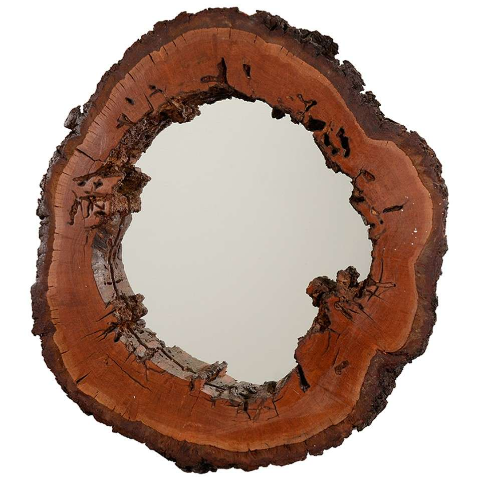 circular mid century mirror with natural wood frame at 1stdibs