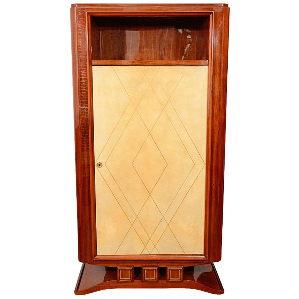 French Art Deco Rosewood and Parchment Tall Cabinet For Sale