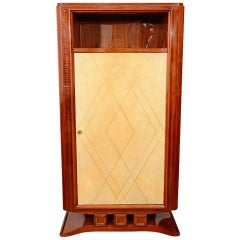 French Art Deco Rosewood and Parchment Tall Cabinet