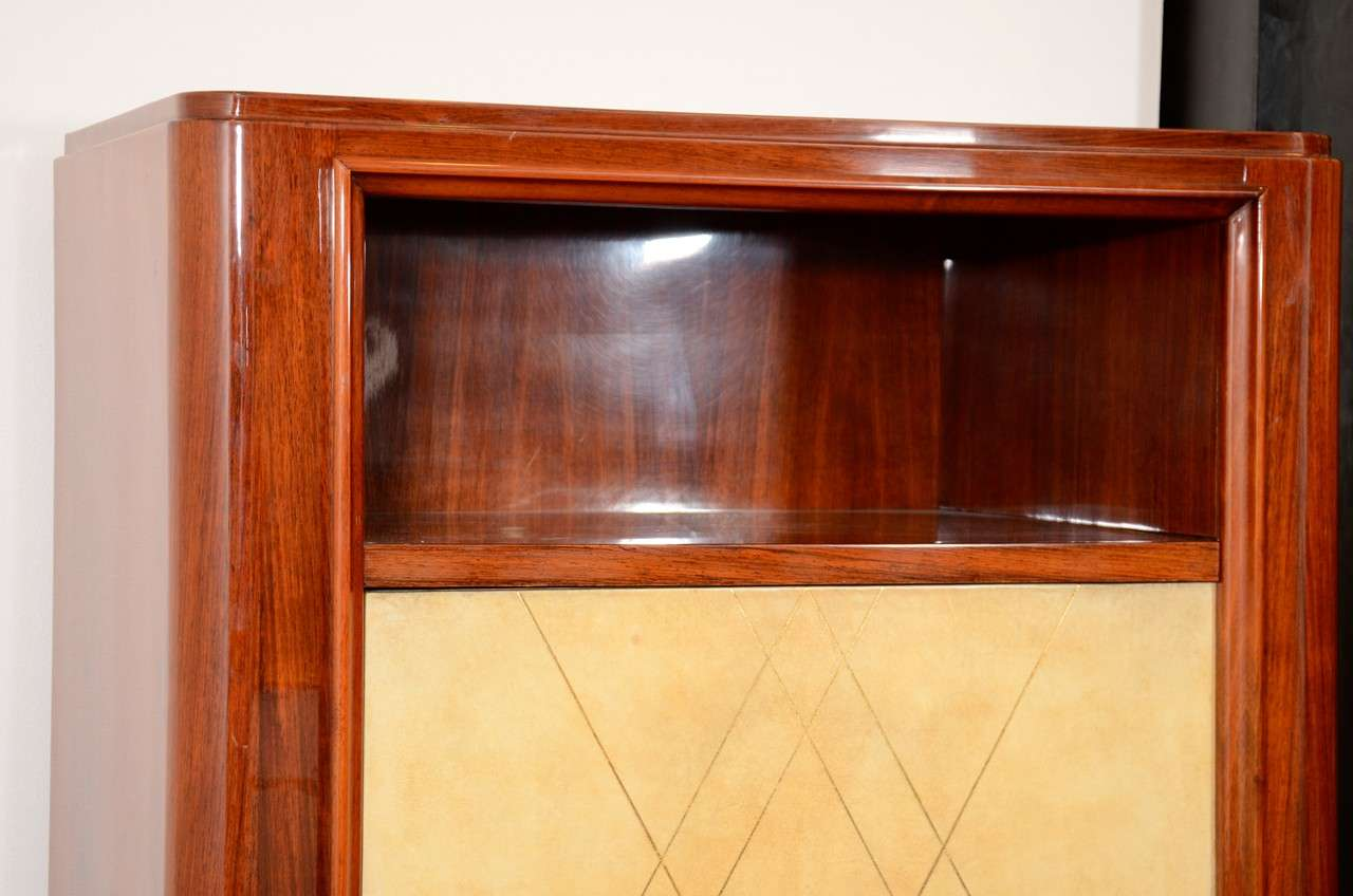 French Art Deco Rosewood and Parchment Tall Cabinet For Sale 1