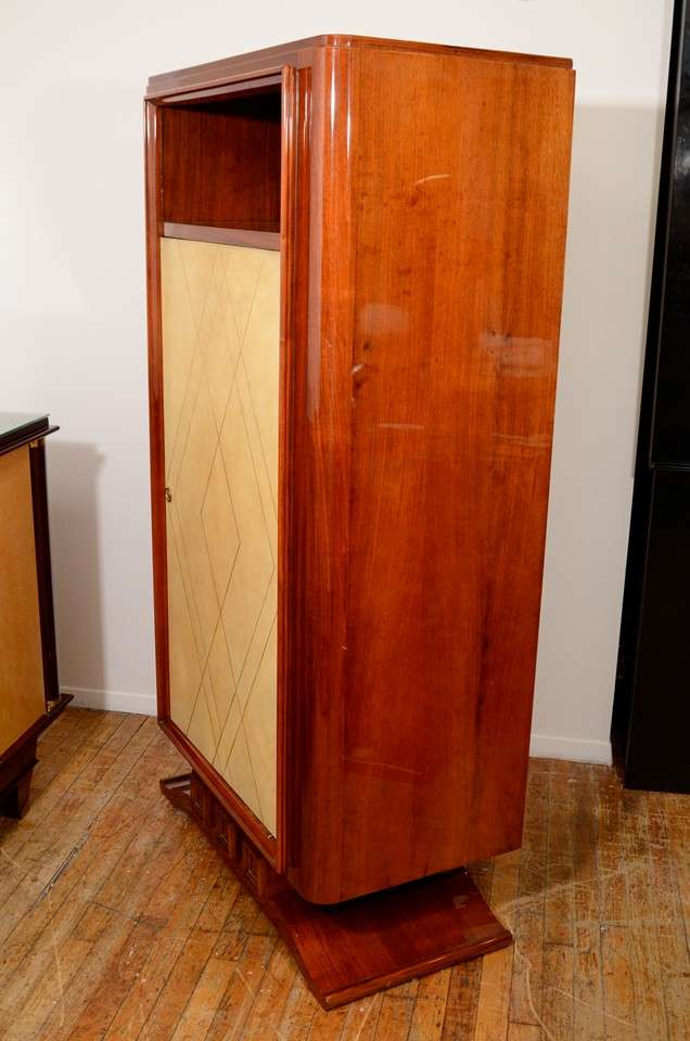 French Art Deco Rosewood and Parchment Tall Cabinet For Sale 3