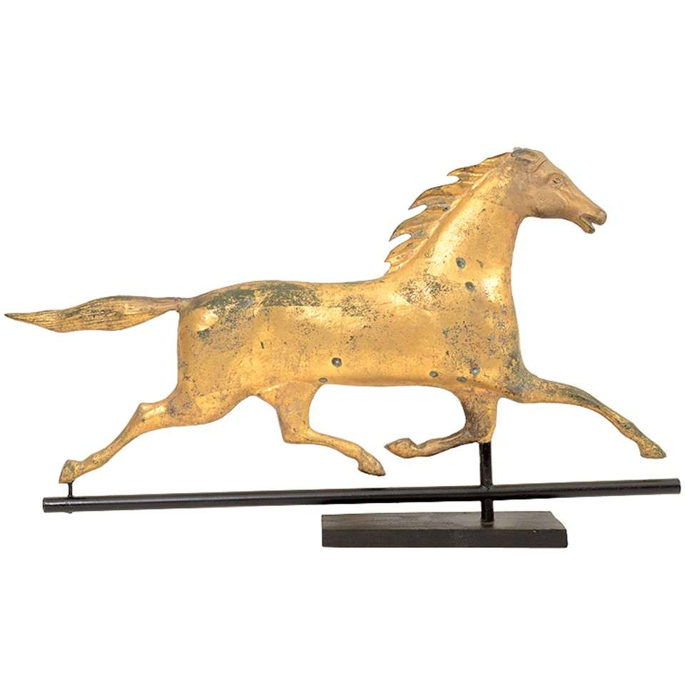Vintage Weather Vane: Antique 19th Century Gilt Copper Horse Weathervane At 1stdibs
