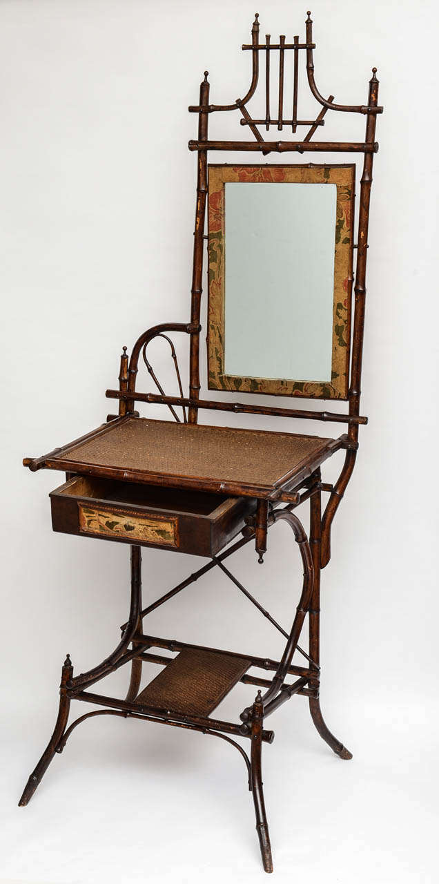 19th Century English Bamboo Vanity or Writing Desk In Good Condition For Sale In West Palm Beach, FL