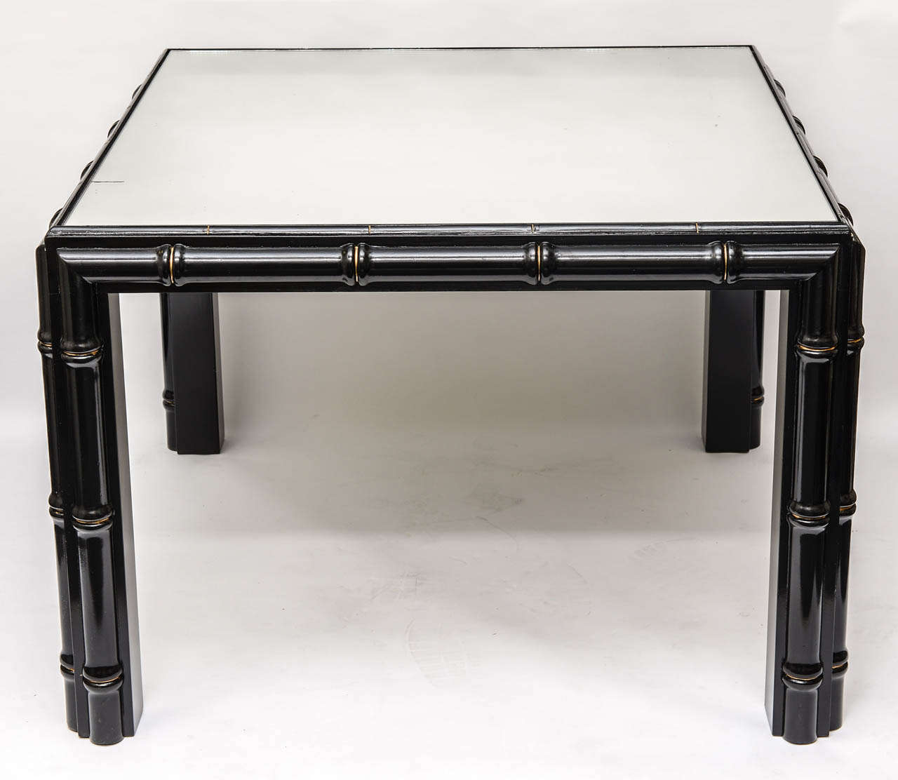 Hollywood Regency Black Faux Bamboo Coffee Table For Sale