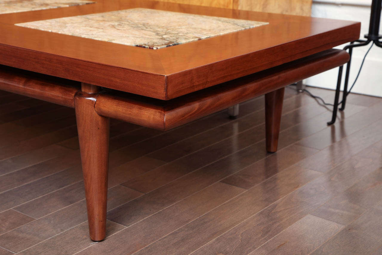 Long Walnut Cocktail Table With Inset Marble Circa 1950 At 1stdibs