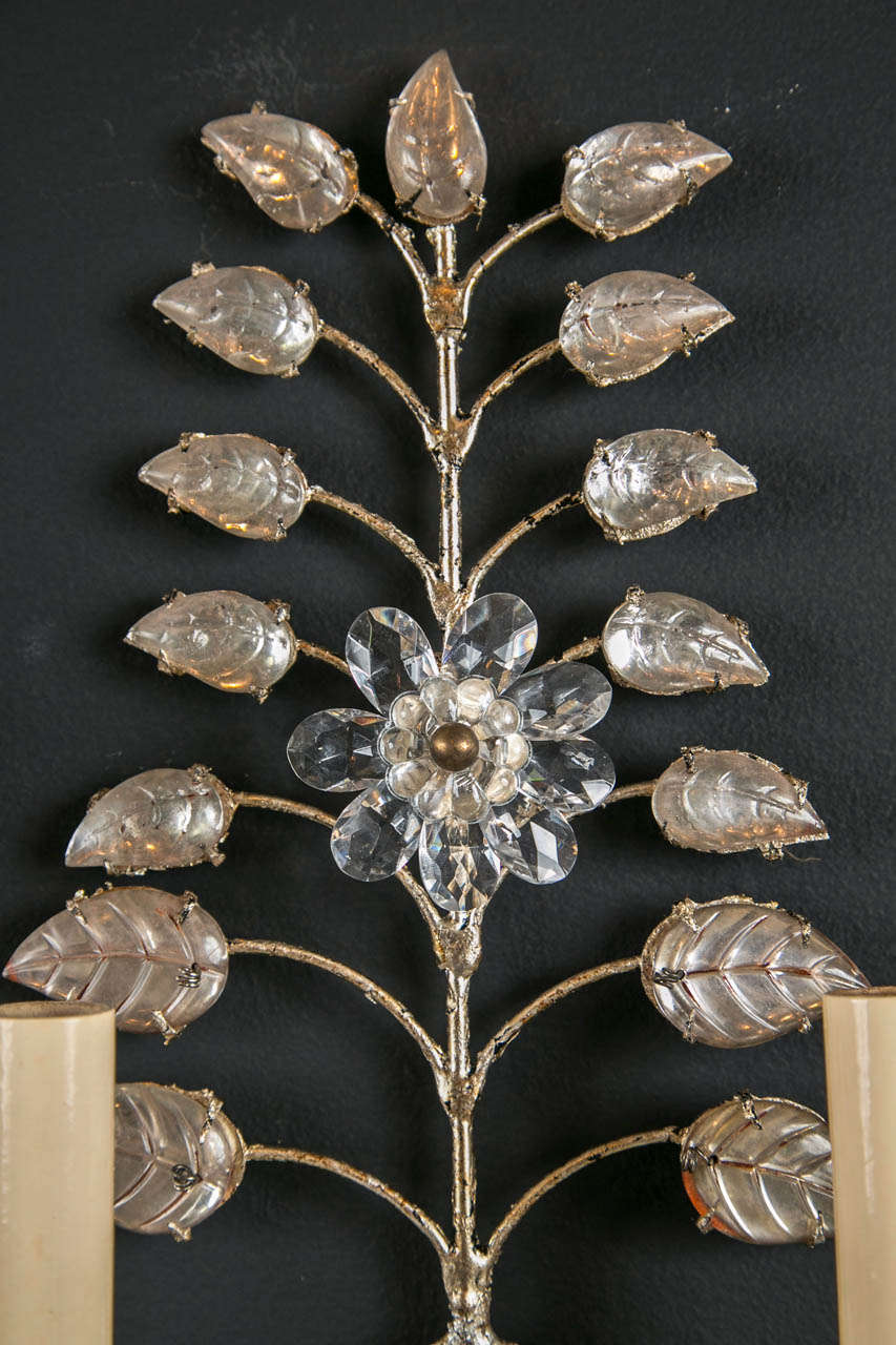Set of Six 1930s French Crystal Sconces In Excellent Condition For Sale In Stamford, CT