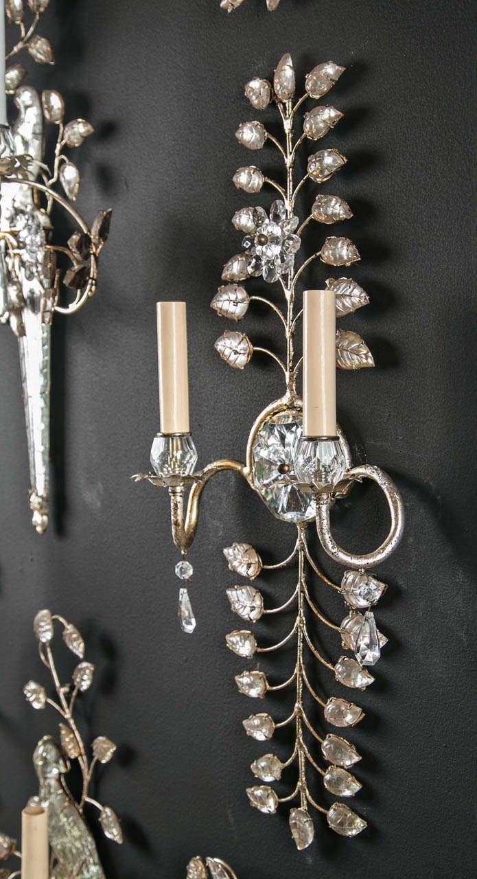 Set of Six 1930s French Crystal Sconces For Sale 2