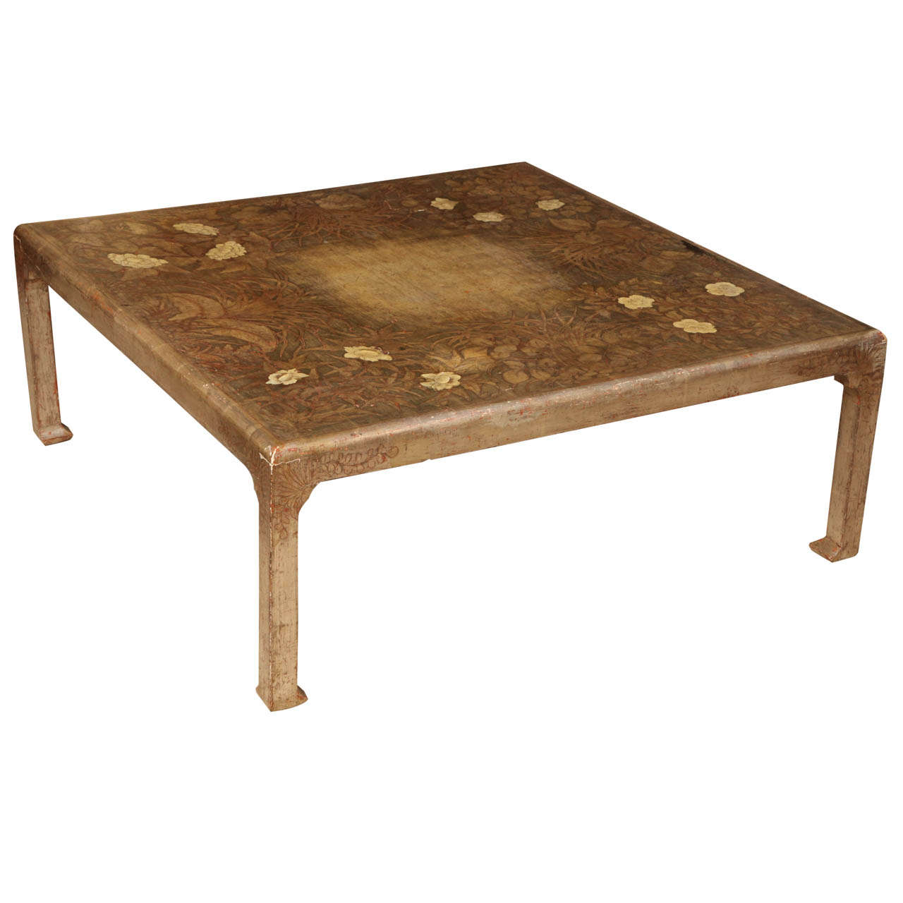 Max kuehne hand painted square low table at 1stdibs Low coffee table square