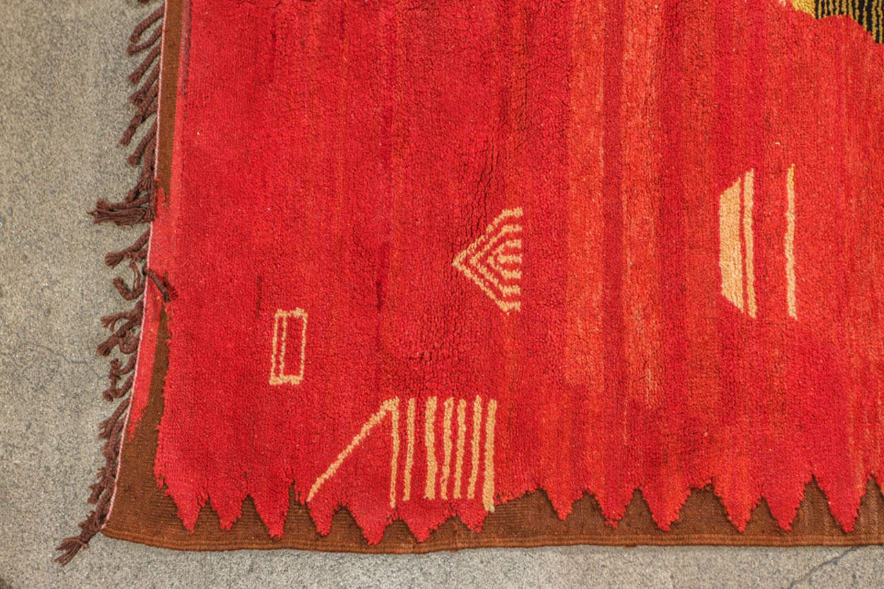 Hand-Knotted Vintage Moroccan Tribal Rug For Sale