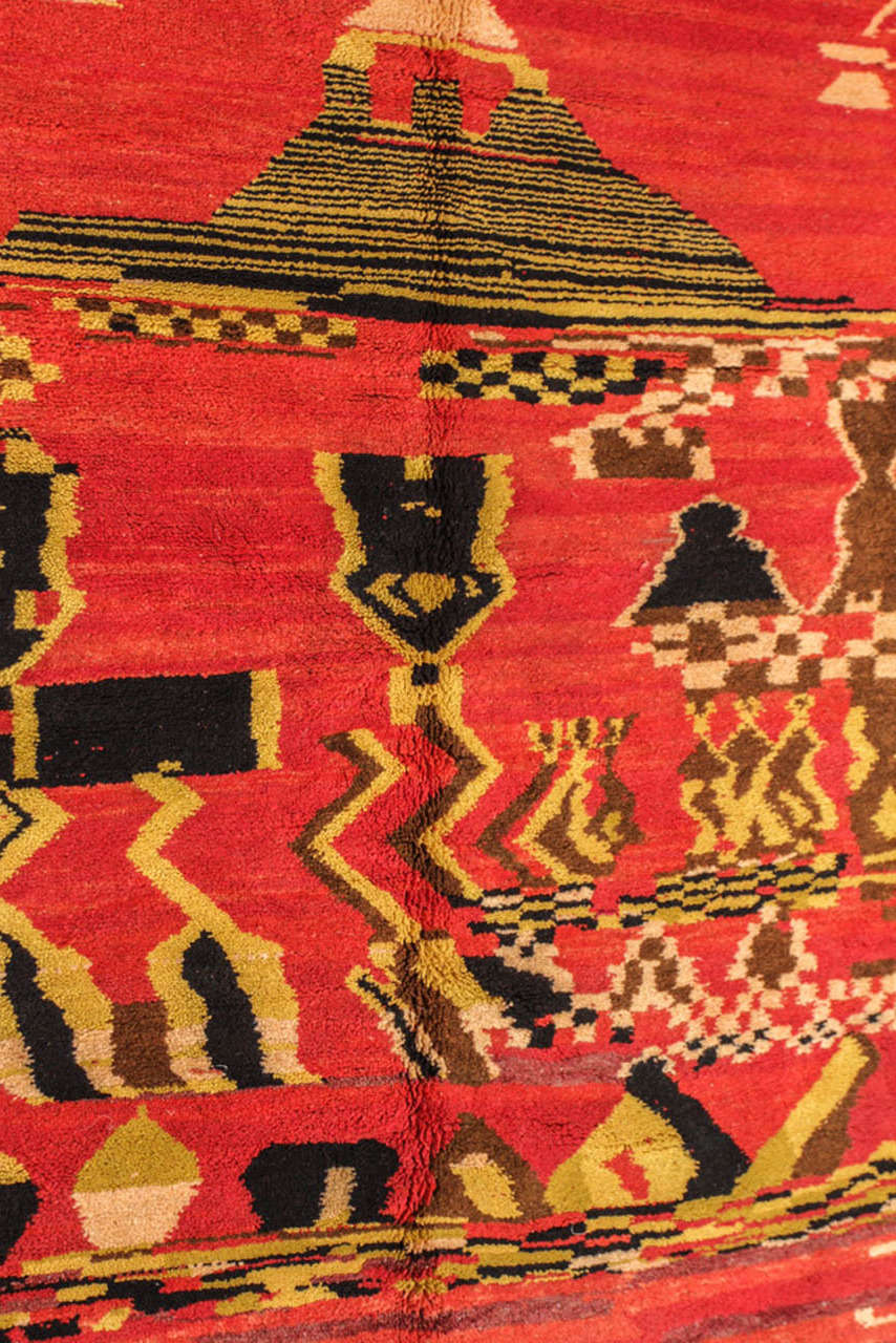 Late 20th Century Vintage Moroccan Tribal Rug For Sale