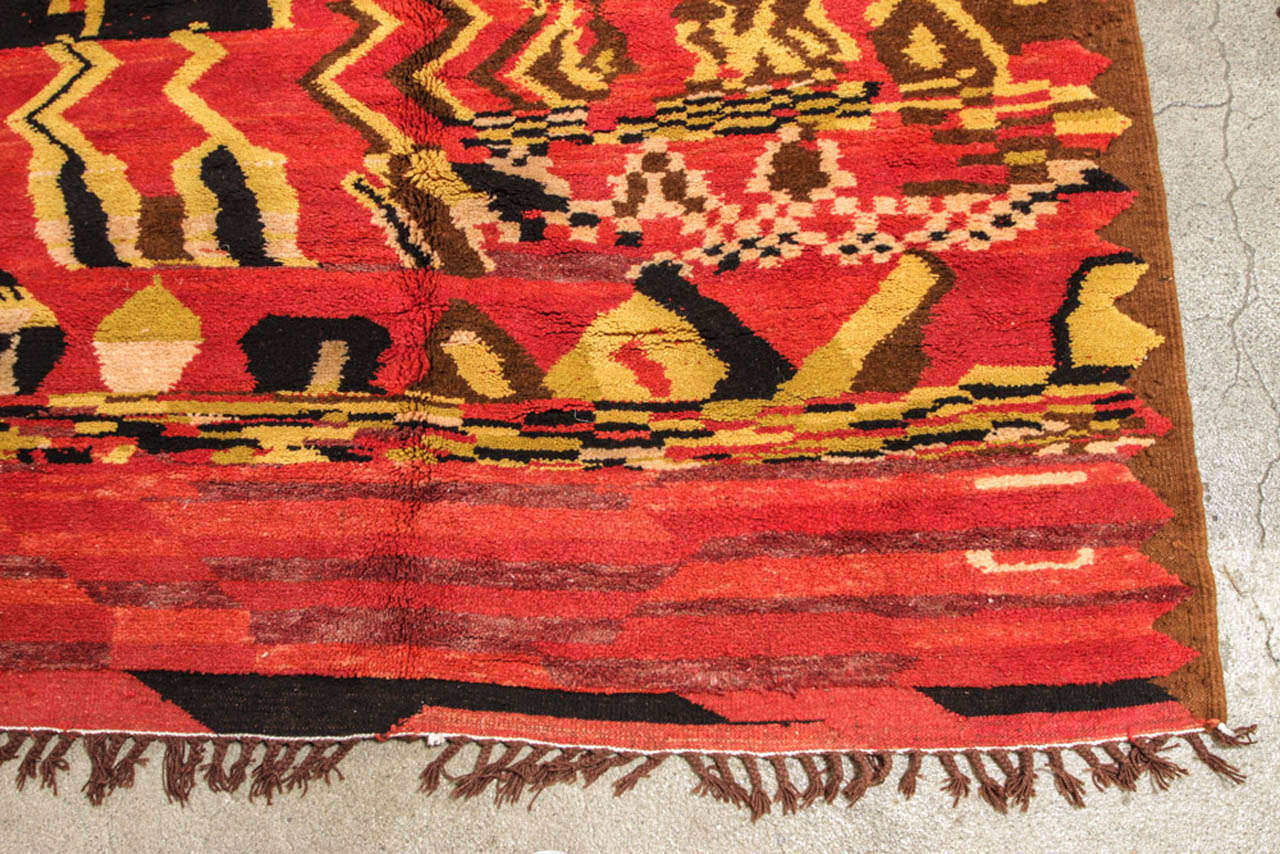 Wool Vintage Moroccan Tribal North African Rug For Sale