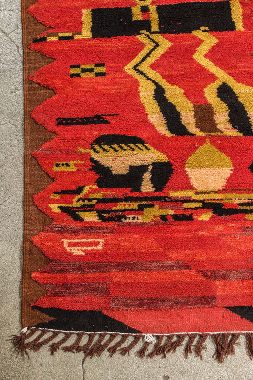 Vintage Moroccan Tribal North African Rug For Sale 1