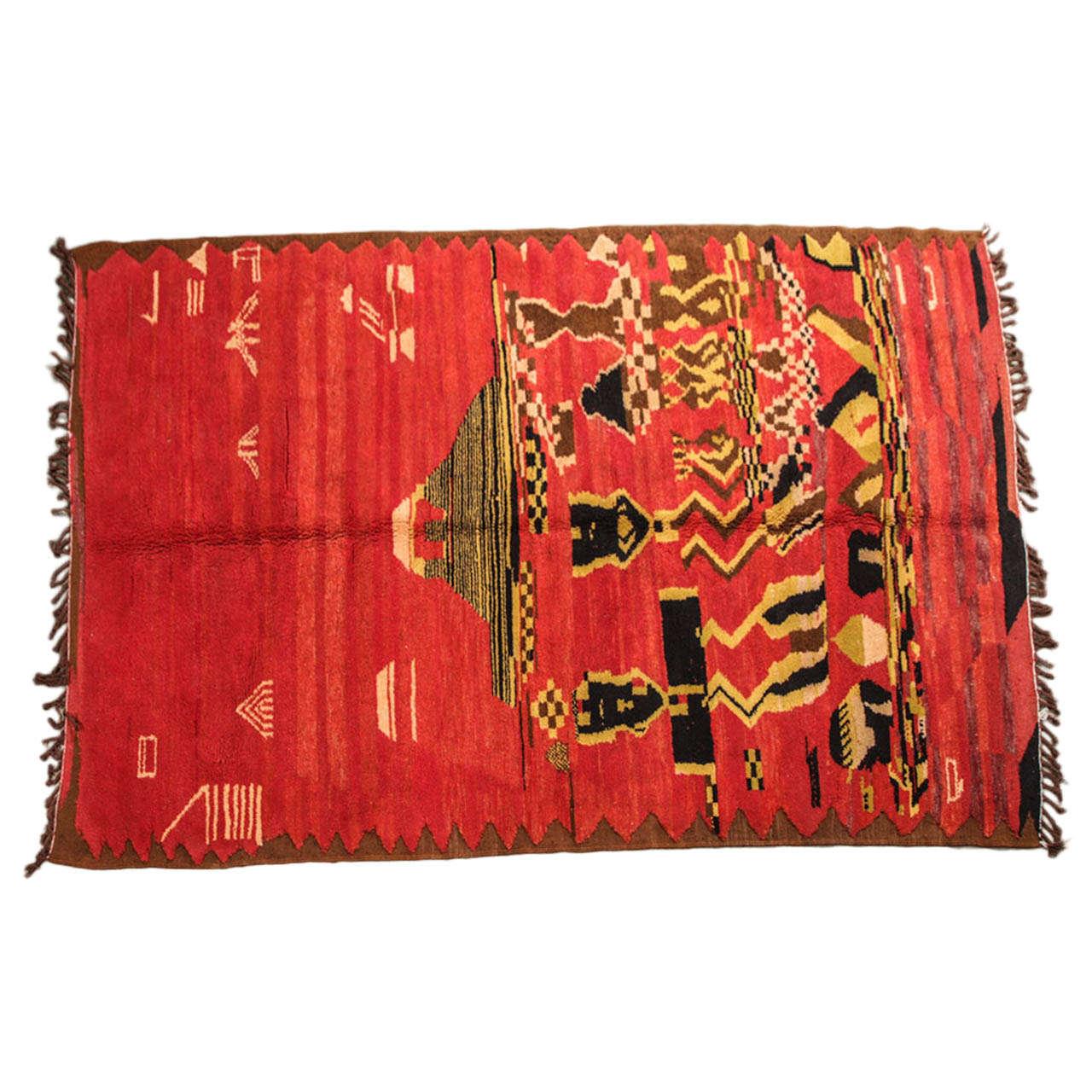 Vintage Moroccan Tribal Rug 1