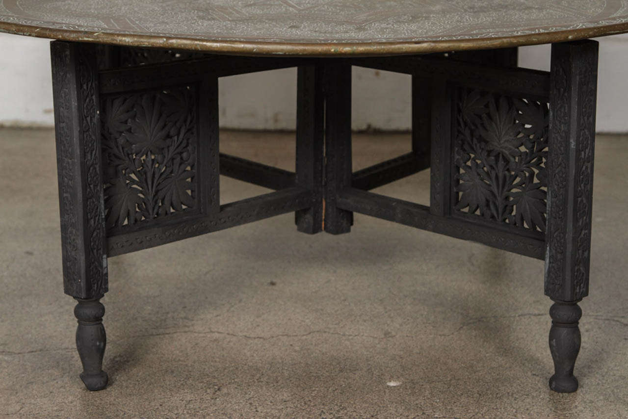 Moroccan Round Brass Tray Coffee Table at 1stdibs