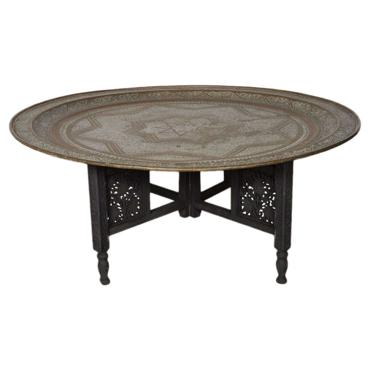 Wonderful Moroccan Round Brass Tray Coffee Table 1