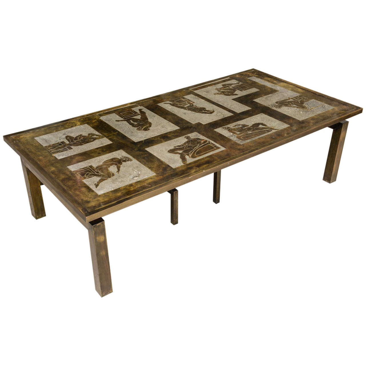 Signed laverne bronze coffee table medici at 1stdibs Bronze coffee tables