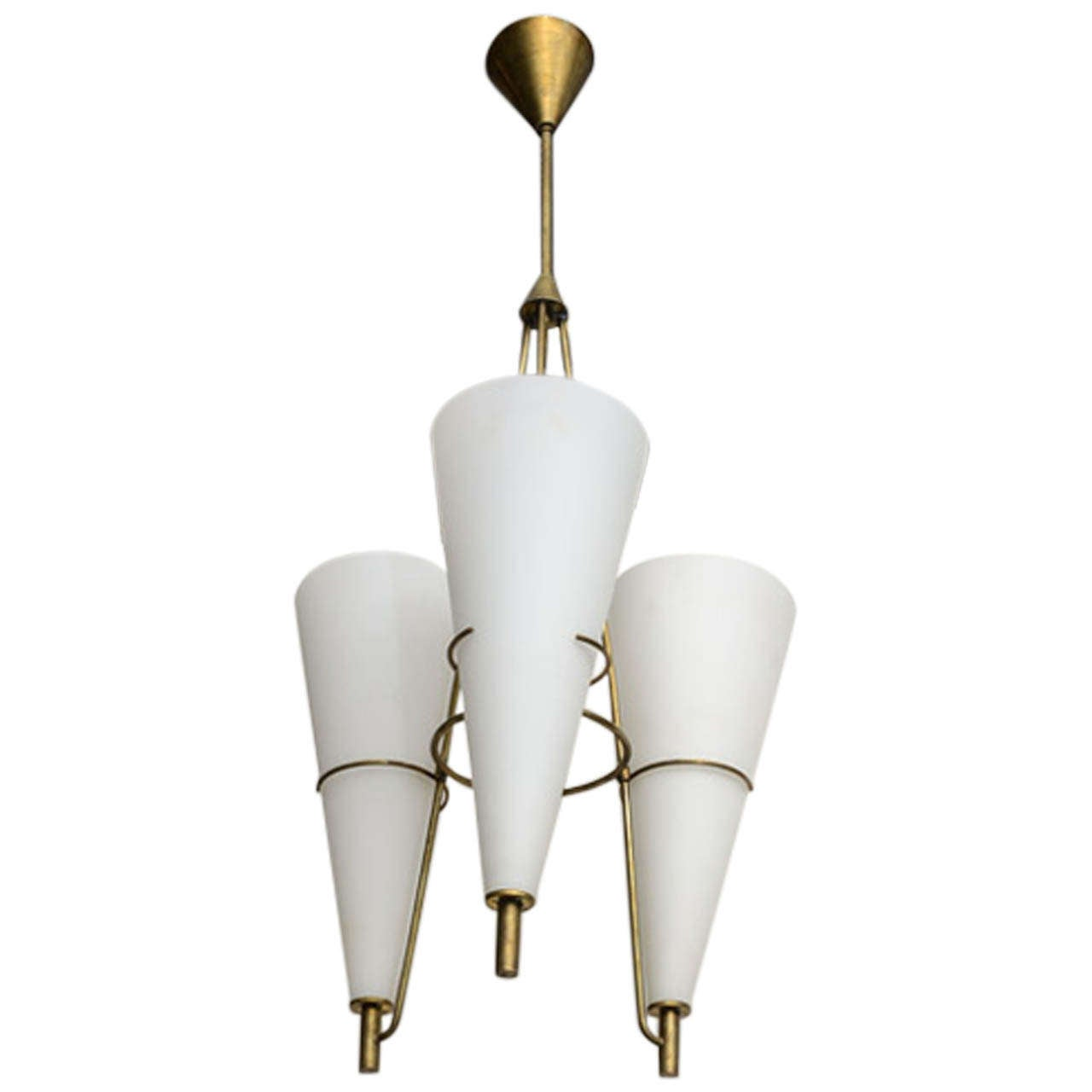 Geometric Brass Chandelier: Italian Geometric Glass And Brass Chandelier At 1stdibs