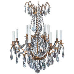 Large Bronze and Crystal Twelve-Light Chandelier