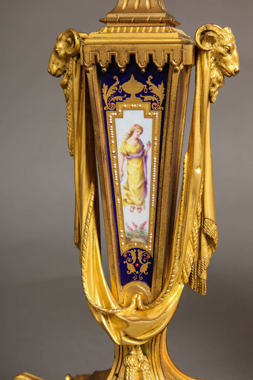 19th Century Sèvres Royal Blue Porcelain and Ormolu-Mounted Three-Piece Clock Garniture For Sale