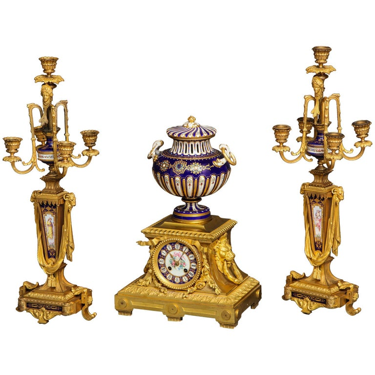 Sèvres Royal Blue Porcelain and Ormolu-Mounted Three-Piece Clock Garniture For Sale