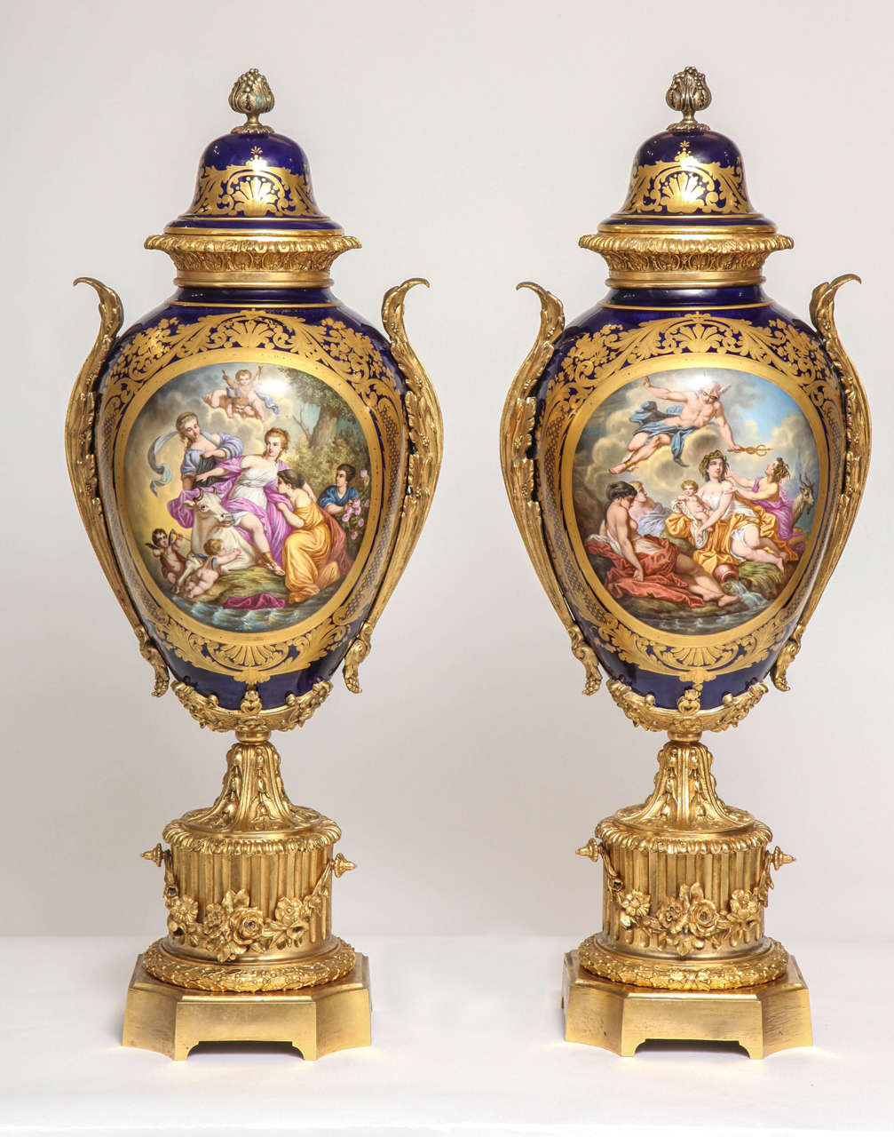 Massive pair of fine antique french ormolu mounted svres style a massive pair of fine antique french ormolu mounted svres style porcelain covered vases reviewsmspy