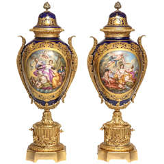 Massive Pair of Fine Antique French Ormolu-Mounted Sèvres Style Porcelain Vases
