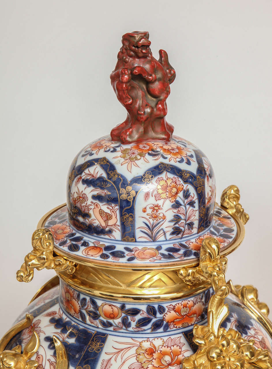 Bronze Antique French Chinoiserie Ormolu and Porcelain Three-Piece Clock Graniture For Sale