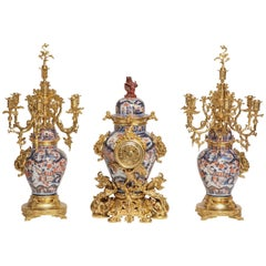 Antique French Chinoiserie Ormolu and Porcelain Three-Piece Clock Graniture