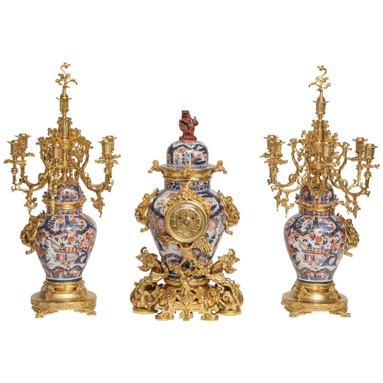 Antique French Chinoiserie Ormolu and Porcelain Three-Piece Clock Graniture For Sale