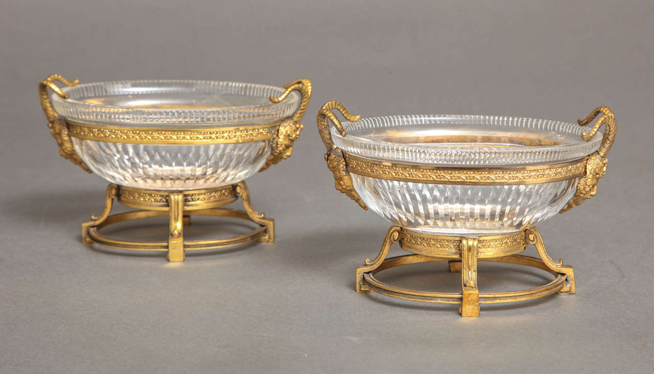 Empire Pair of Russian Imperial Cut Crystal and Doré Bronze Centerpieces W/ Masks For Sale