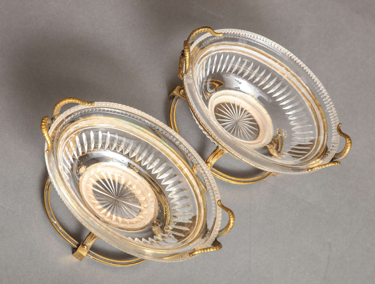 Pair of Russian Imperial Cut Crystal and Doré Bronze Centerpieces W/ Masks For Sale 3