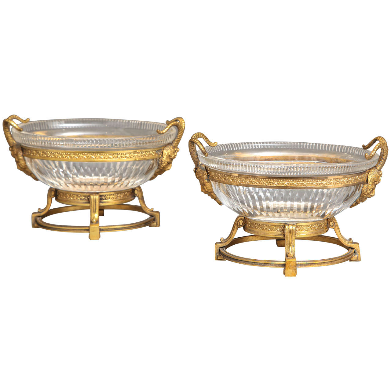 Pair of Russian Imperial Cut Crystal and Doré Bronze Centerpieces W/ Masks For Sale