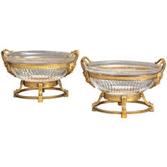 Pair of Russian Imperial Cut Crystal and Doré Bronze Centerpieces W/ Masks