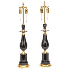 Fine Pair of Modern Black Russian Obsidian and Giltwood Lamps, 20th Century