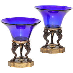 Pair of Russian Empire Cobalt Blue Glass and Bonze Mounted Centerpieces