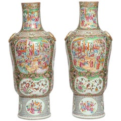 Unusual Pair of Large Chinese Export Canton Famille Rose 1000 Butterfly Vases