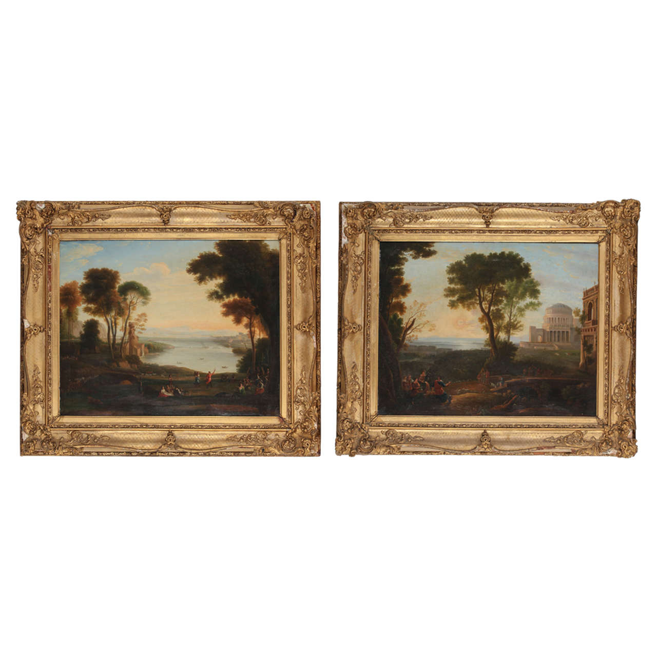 Pair of 19th Century Classical Landscapes, Oil on Canvas