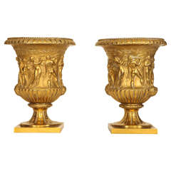 Pair of Gilded Bronze Vases